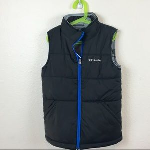 Reversible Columbia Boy 10/12 Vest Black Gray Camo